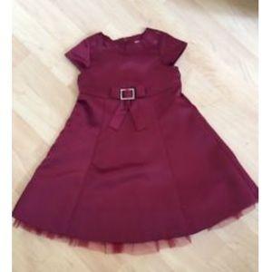 Gymboree Burgundy Prim & Proper Satin Dress